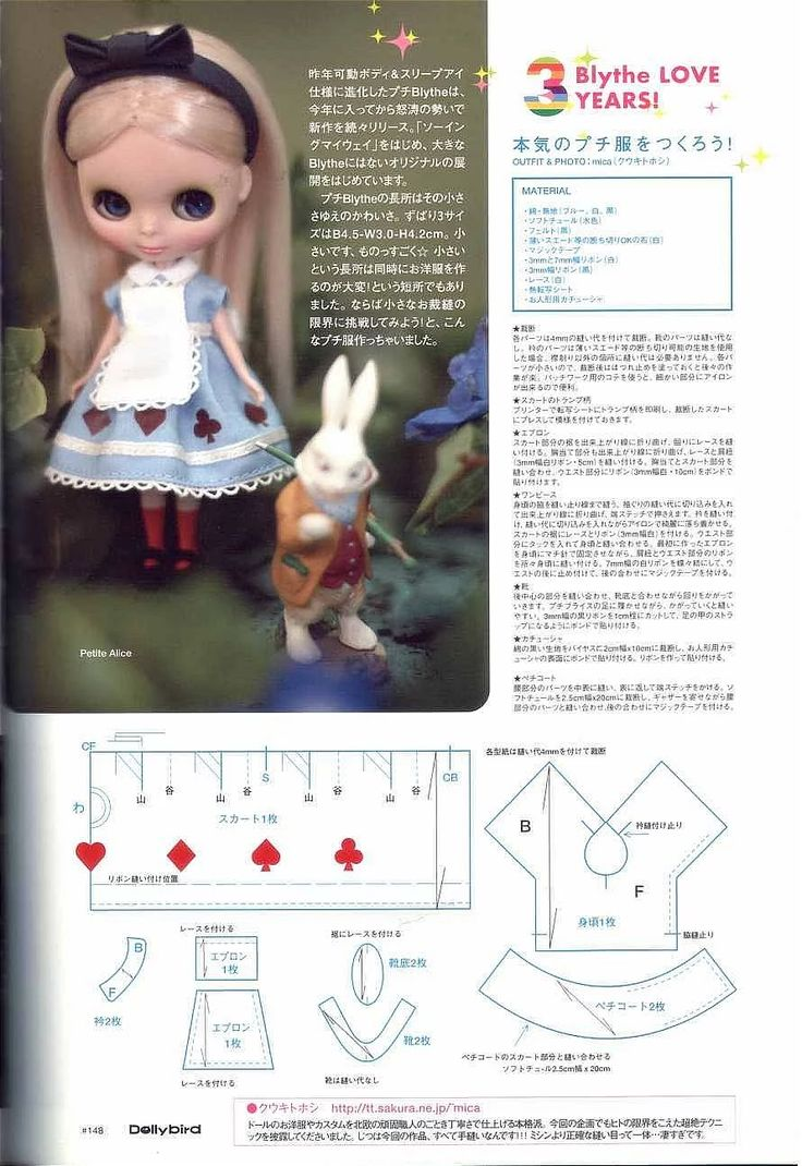 Blythe doll Alice in Wonderland dress. Adjust for Lottie
