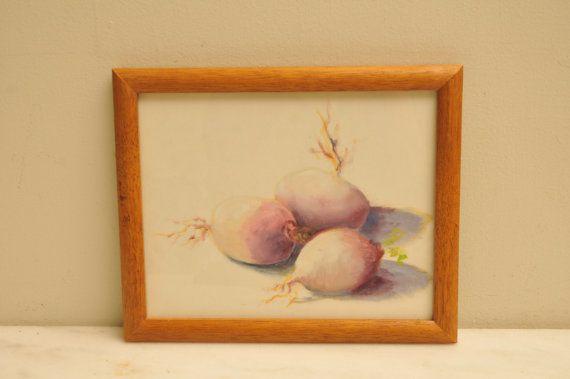 Vintage Watercolor Painting Turnips Vegetable Garden in Oak Frame on Etsy, $44.00