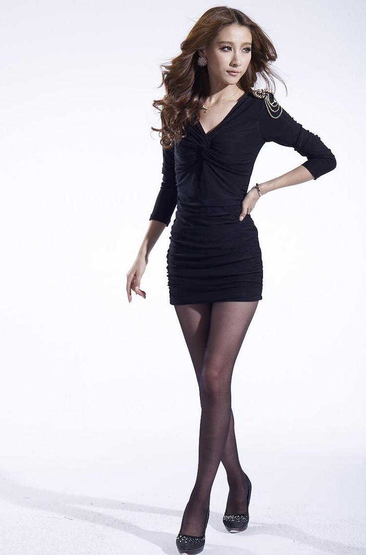 Black dress korean - Black Mini V Neck Slim Fit Casual Dress With Shiny Epaulets Korean Fashion 61 80