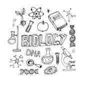 Garabatos de los iconos de ciencia vector conjunto. Objetos de clase de Biología de la escuela — Archivo Imágenes Vectoriales