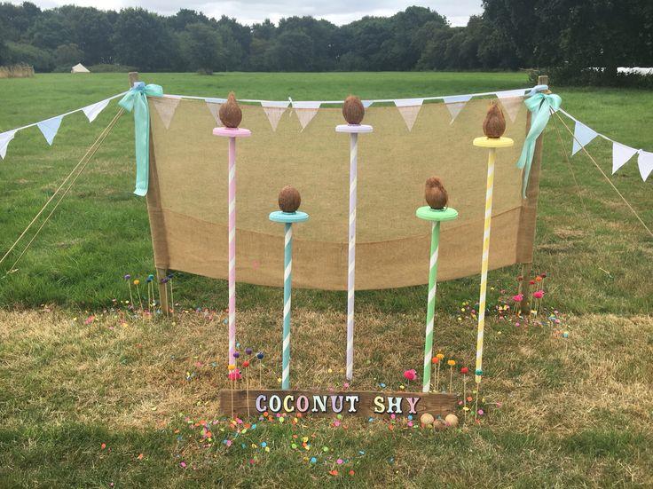 Wedding garden games hire- coconut shy. Wedding fete games