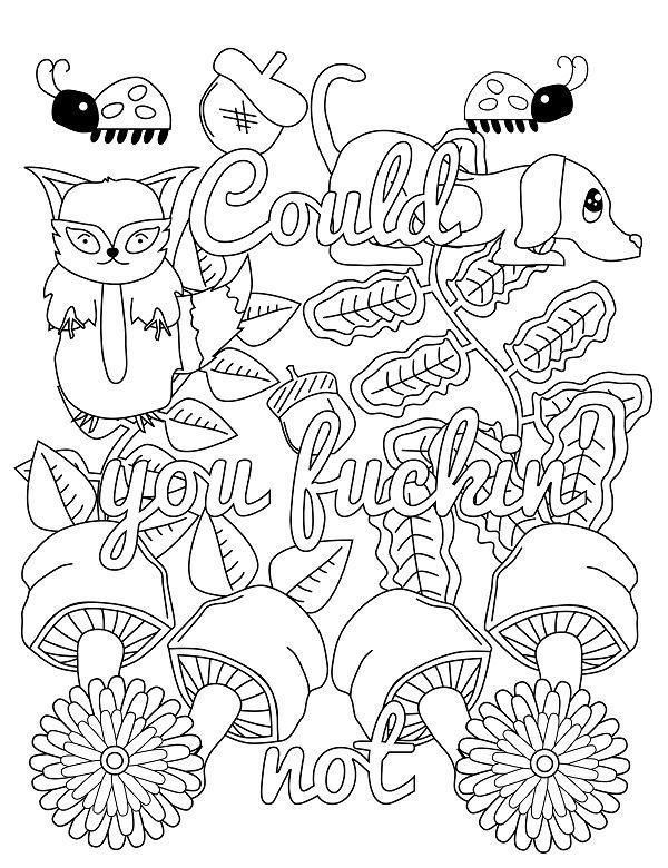 Could you Fucking Not - 14 FREE Printable Swear Word Coloring Pages at Swearstressaway.com - This swear word coloring page comes from the book Screw you As*hole available on Amazon. Swear Stress Away has many coloring books for grown-ups and adults that contain plenty of colorful language. Also You can get free printable swear word coloring pages when you sign up at swearstressaway.com #art #coloringbooks