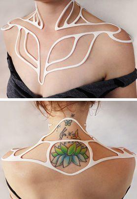 Neckpiece   Three Form Fashion Design.  'Lotus Top'.