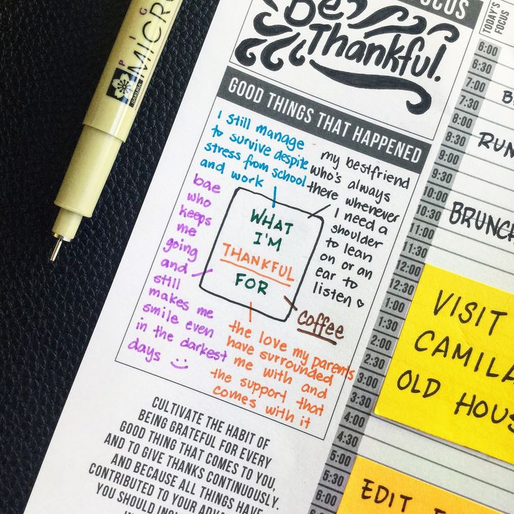 Organize thoughts in your passion planner. Be thankful