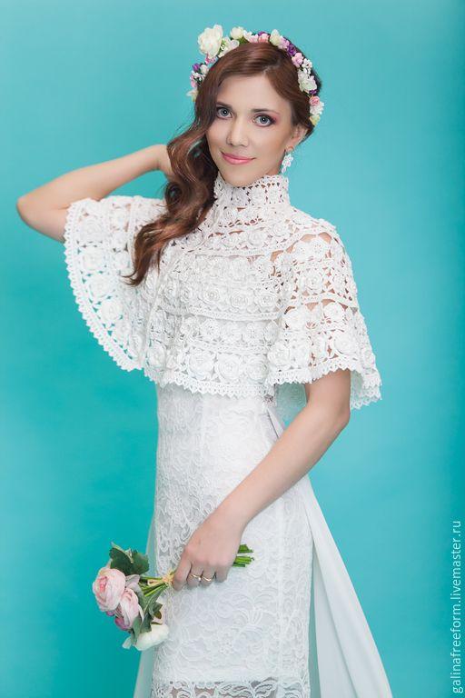 Купить Вязаное болеро БЕЛЫЕ РОЗЫ - белый, крючком, праздничное платье, свадьба, торжество, болеро