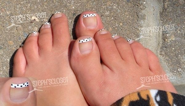 French Pedicure Designs | French Pedicure Designs | White French Pedicure with Black Polka Dots ...