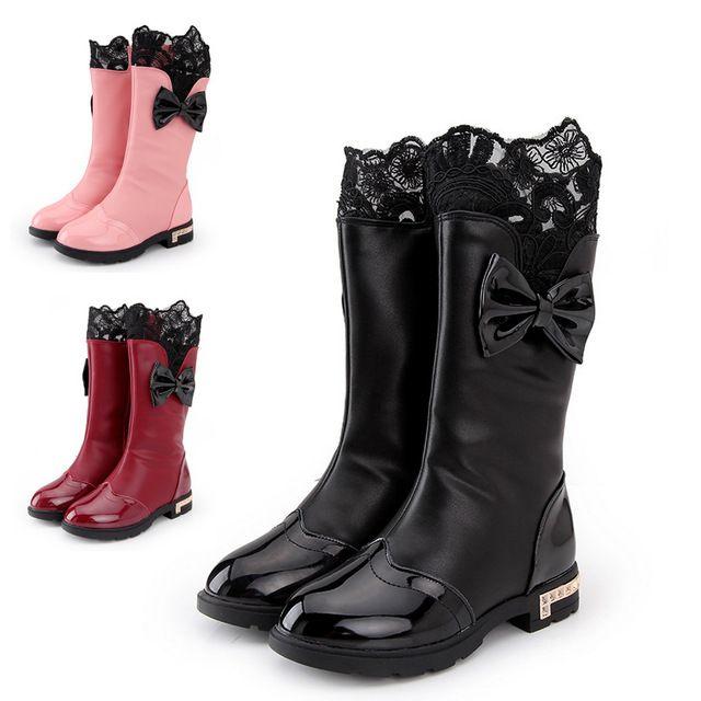 Nueva chica niños del Bowknot impermeables Botas de nieve lluvia niños zapatos de la princesa de cuero de la PU ocasional Botas Ninas para Little Kid / niño grande