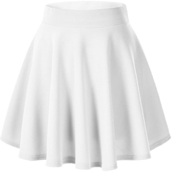 Women's Basic Solid Versatile Stretchy Flared Casual Mini Skater Skirt ($8.65) ❤ liked on Polyvore featuring skirts, mini skirts, white stretch skirt, flare skirt, stretchy mini skirts, circle skirt and skater skirt