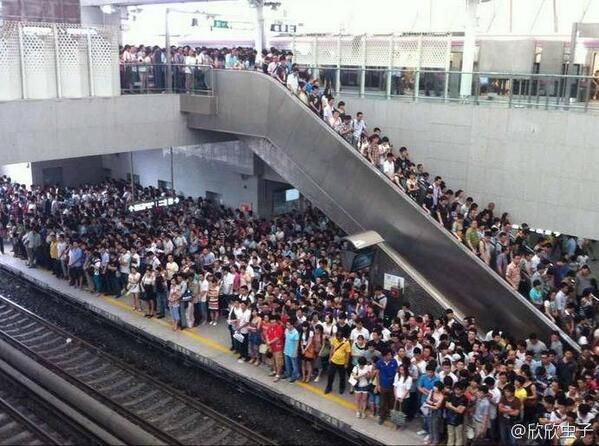 Rush Hour At A Beijing Subway Station. Not very fun for a little introvert like me. Needless to say, the subway was avoided between 4 and 7 o'clock