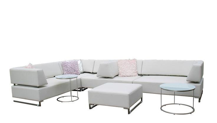 Tuinmeubelen #moderne #witte #wit #leer #leren #nepleer #loungeset #lounge #loungebank #tuinset #tuinmeubel #Fonteyn