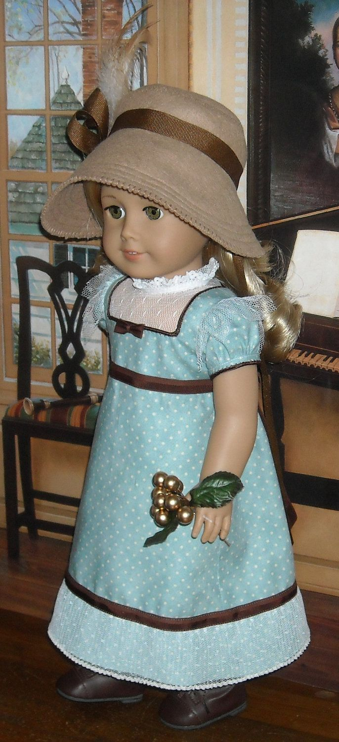 1812 Regency Day Dress with Green Wool Pelisse and Felt Bonnet for 18 inch Dolls. $130.00, via Etsy.