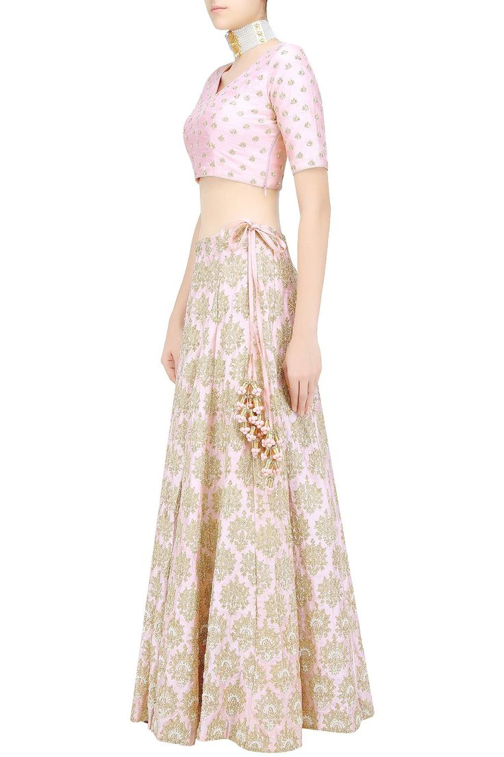 Baby pink and gold floral embroidered lehenga set available only at Pernia's Pop Up Shop.