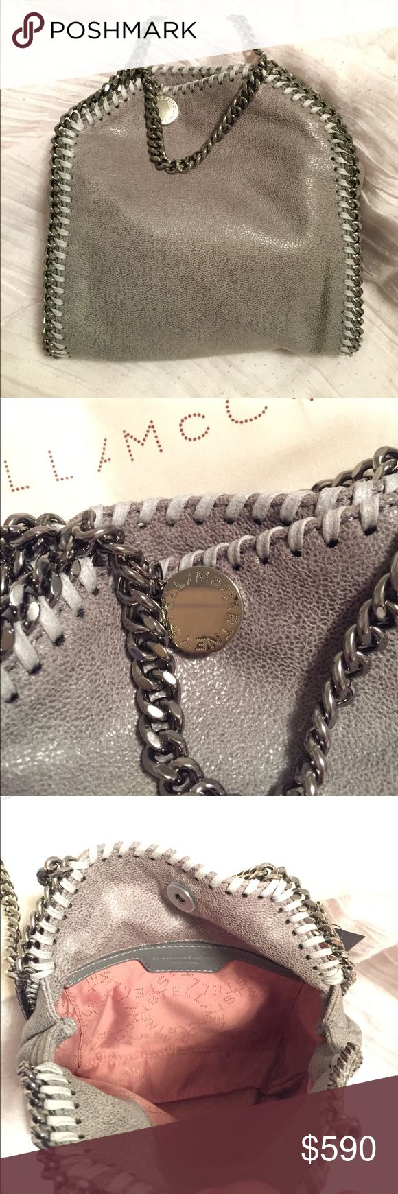 Stella McCartney Tiny Falabella Shaggy Deer Bag Brand new tiny Falabella bag in gray blue with gun metal hardware.  Comes with cards and dust bag. Stella McCartney Bags Shoulder Bags