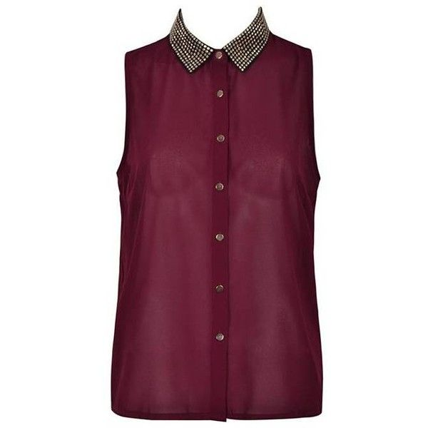HEAT SEAL COLLAR SHIRT (€12) ❤ liked on Polyvore featuring tops, shirts, blusas, remeras, tank tops, purple sleeveless top, sleeveless collared shirt, studded shirt, shirt top and sleeveless collared top