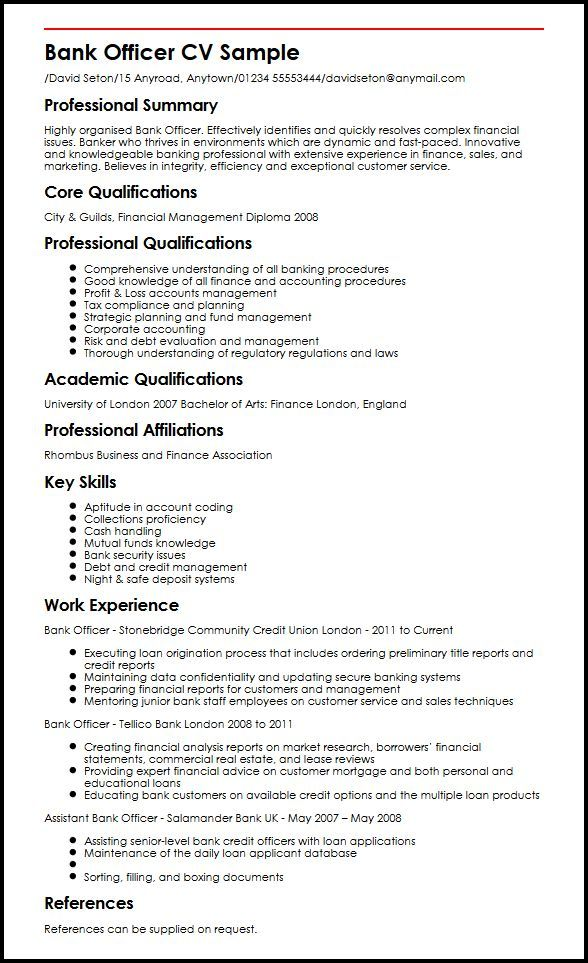 resume format for banking sector