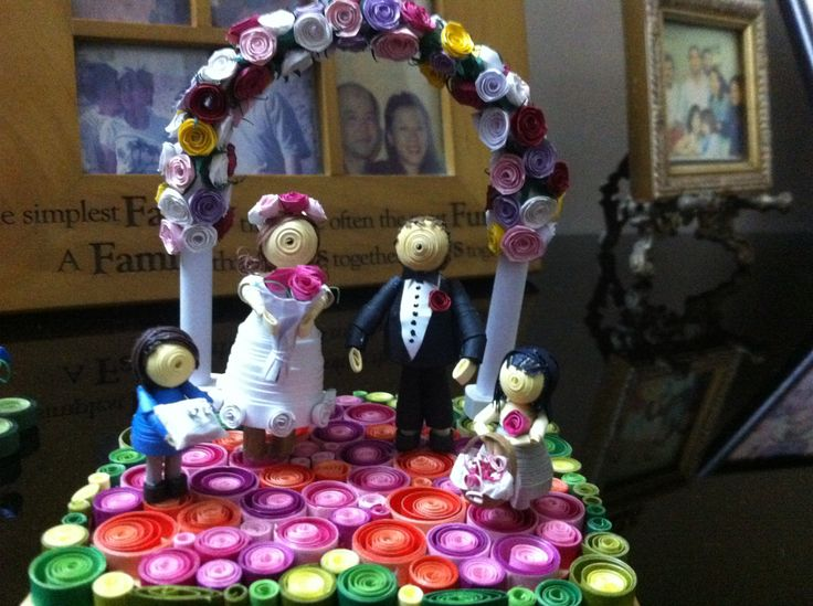 3D wedding with ring boy and flower girl