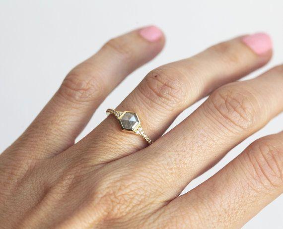 Rose Cut Hexagon Diamond Ring Diamond Engagement Ring by MinimalVS