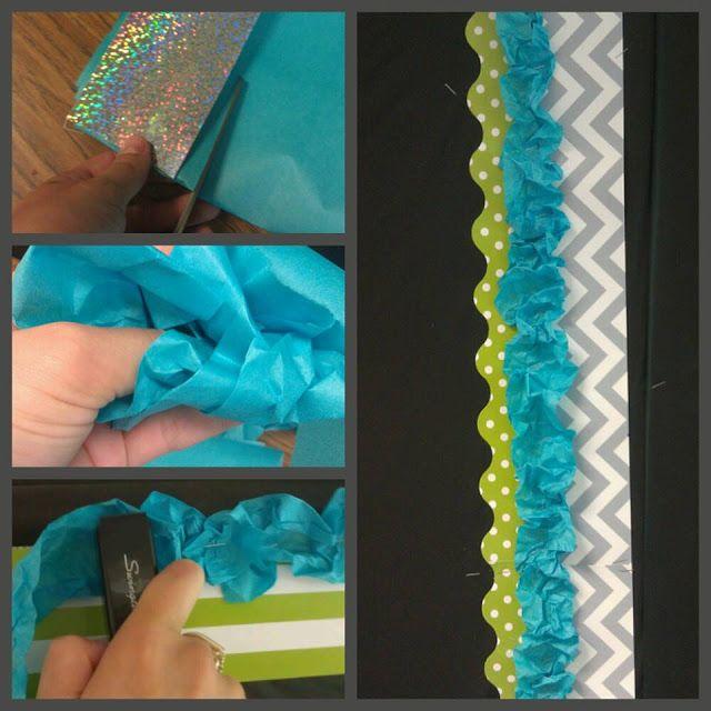 Your Life: Embellished --- Easy DIY Bulletin Board Ribbon Border. Classroom Decor, Teal/Lime Classroom, Chevron