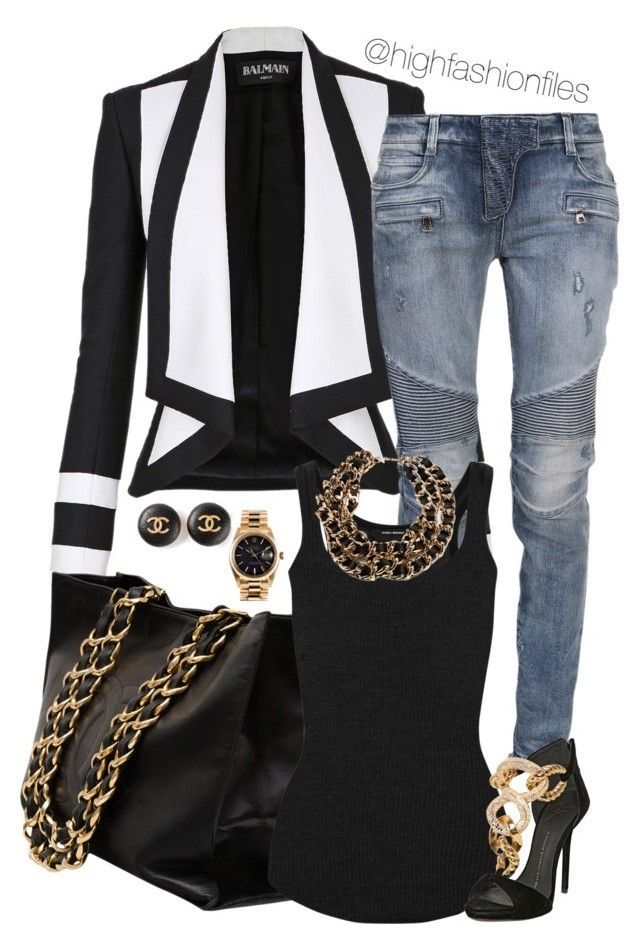 """Untitled #1979"" by highfashionfiles ❤ liked on Polyvore featuring moda, Balmain, Chanel, Isabel Marant, Dsquared2, Giuseppe Zanotti y Rolex"