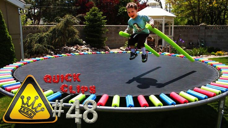 QC#48 - Super Tramp: Put new life into your old trampoline with some pool noodles.  They add padding to your springs, kids think it's fun, and they help protect the springs from the elements as well.