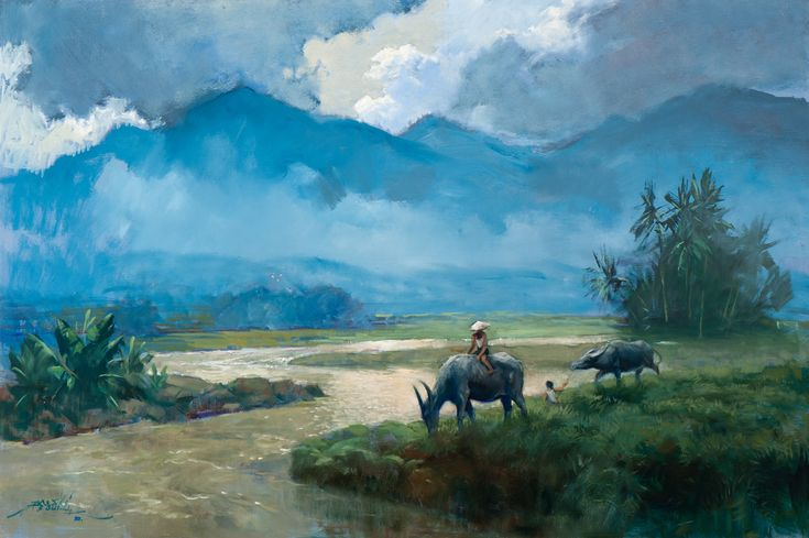 Basoeki Abdullah - Buffalos along the Riverside