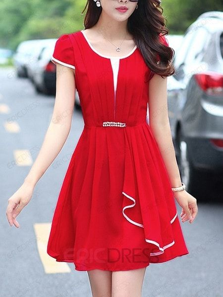 Ericdress  Falbala Plain Casual Dress 2
