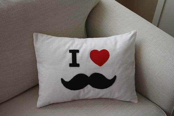 Pillow with Mustache by ATOLYEVIVIAN on Etsy, $30.00