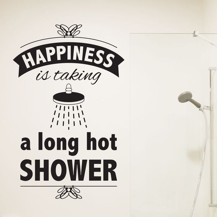 bathroom wall sticker happiness is taking a long hot shower vintage decal vinyl