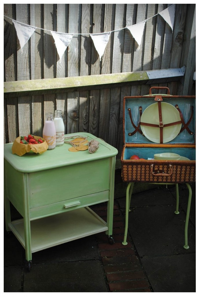 retro picnic garden set.. pistachio painted sewing box - annie sloan old ochre - arles - antibes green color mix.