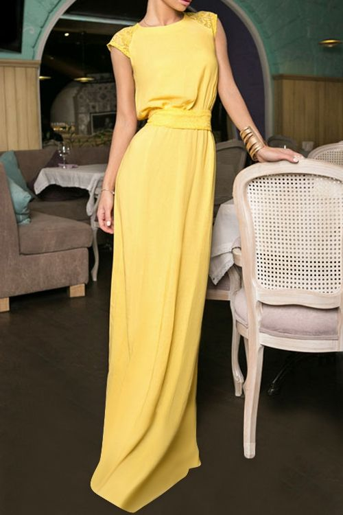 Yellow Round Neck cap sleeve Maxi Dress