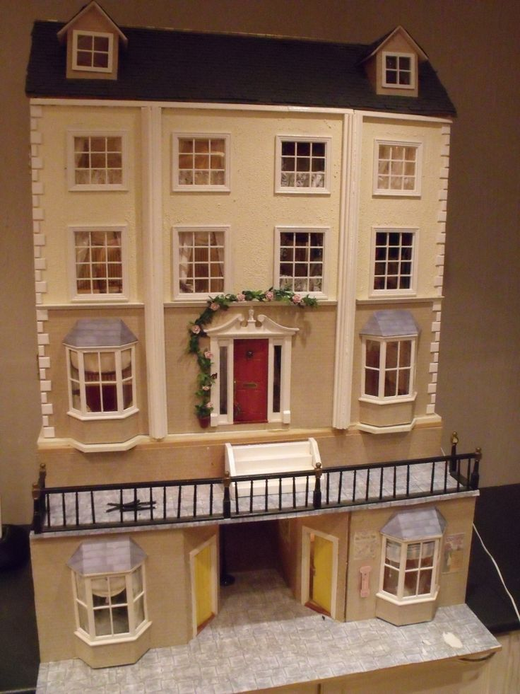 For Sale - Georgian country dolls house with basement - The Dolls House Exchange (jt-all interior windows are dressed with swagged curtains - follow through to take a look)