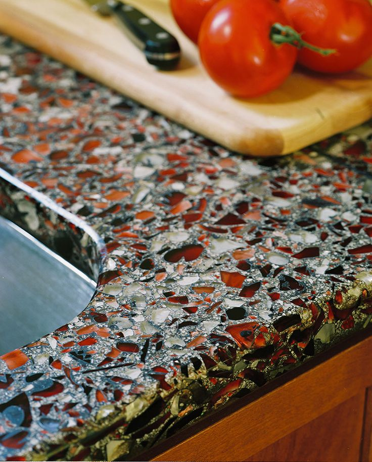 Recycled Glass Countertops, Kitchen Counters And