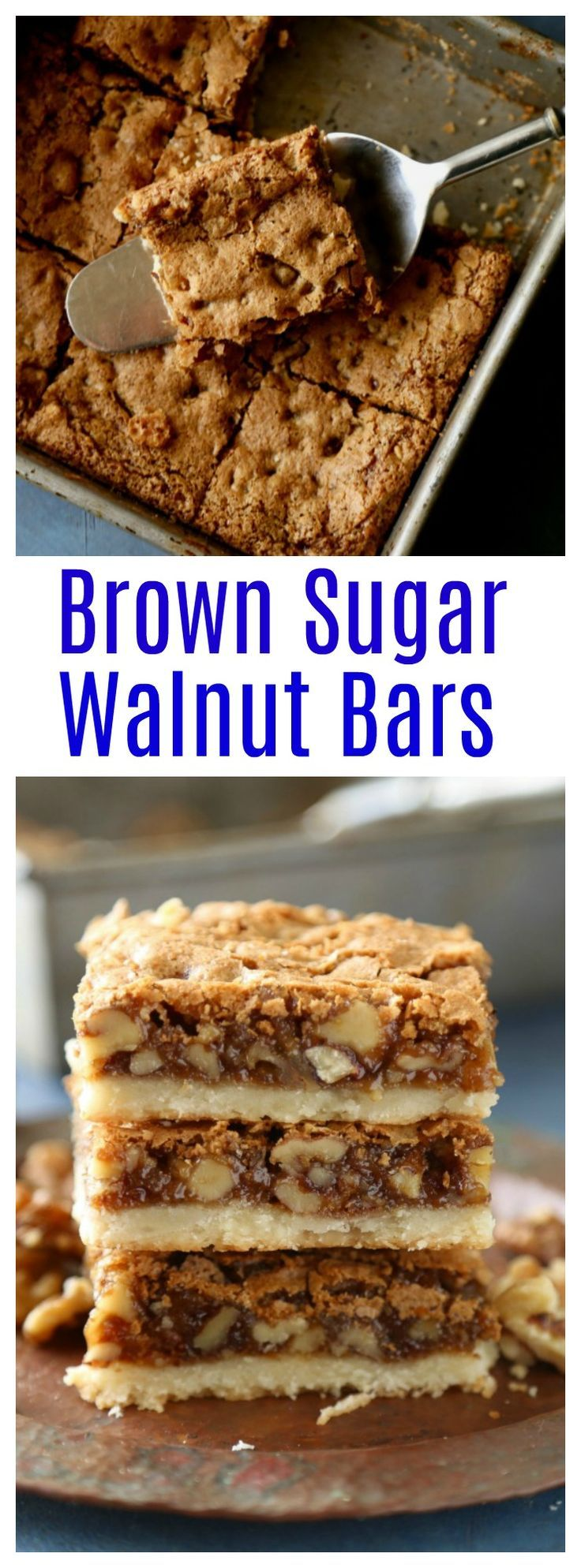 Brown sugar walnut bars have a buttery shortbread base and a sweet brown sugar walnut topping. #holidaybaking #fallrecipes #easy #dessertbars