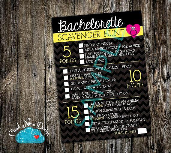 Bachelorette Party Game Scavenger Hunt Instant by Cloud9DesignFL