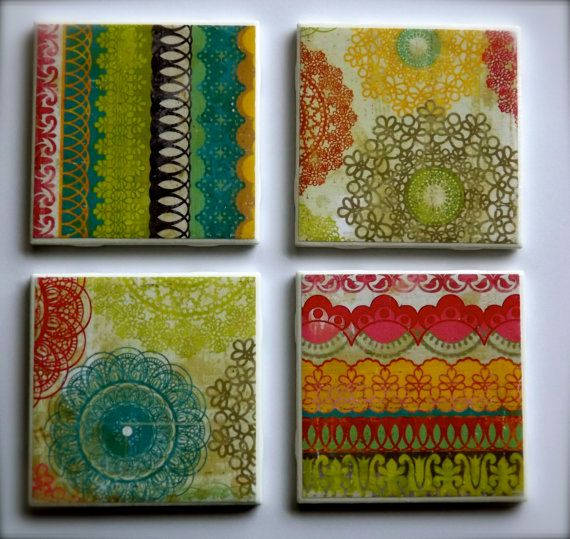 Fun Colors, Printed Tile Coasters Set Of 4 By