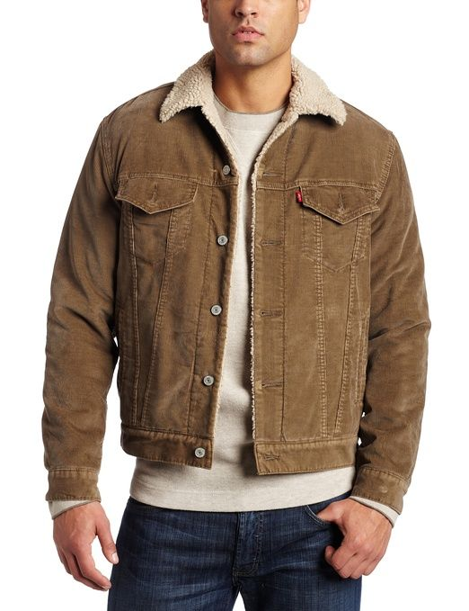 Levi's Mens Corduroy Sherpa Trucker Jacket, Thorn, Small