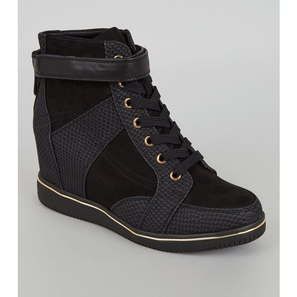 New Look Black Perforated Panel Wedge Trainers (2,490 INR) ❤ liked on Polyvore featuring shoes, sneakers, black, wedge heeled shoes, wedge heel sneakers, black wedge heel sneakers, lacing sneakers and sneaker wedge shoes