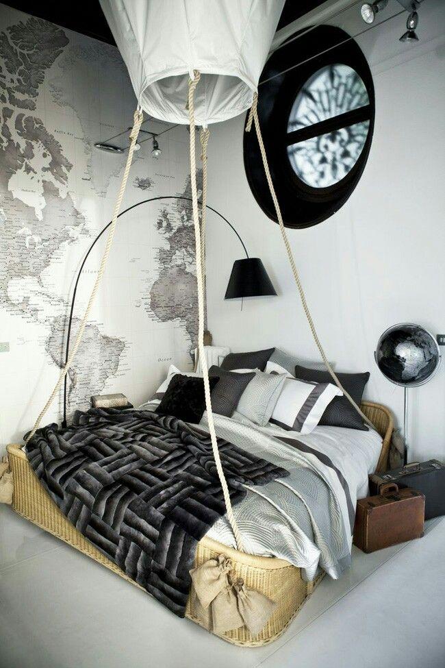 Bedroom mongolfiera mondo carta da parati mappa geografica bianco nero grigio