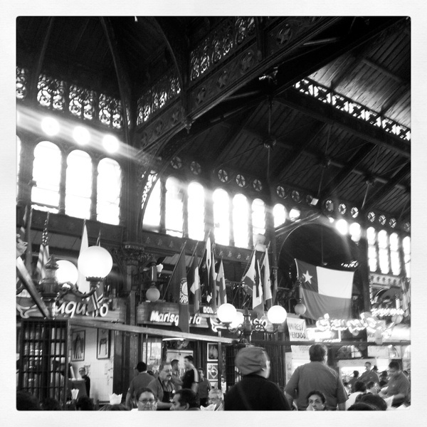 Central Market, Santiago, Chile.  (This haunting ceiling invades my dreams at night)