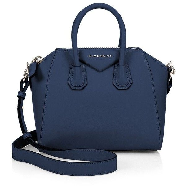 Givenchy Antigona Mini Leather Satchel ($1,825) ❤ liked on Polyvore featuring bags, handbags, apparel & accessories, black, leather satchel, leather satchel handbags, blue purse, blue leather purse and genuine leather purse