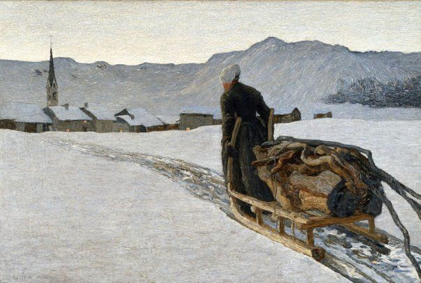 Giovanni Segantini (Italian, 1858-1899) Return from the Woods, 1890 ... Italian born Swiss Artist with a wonderful museum in St.Moritz !