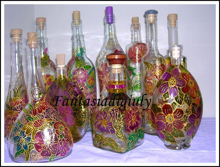 Bottiglie di vetro decorate ch84 regardsdefemmes - Bottiglie vetro decorate ...
