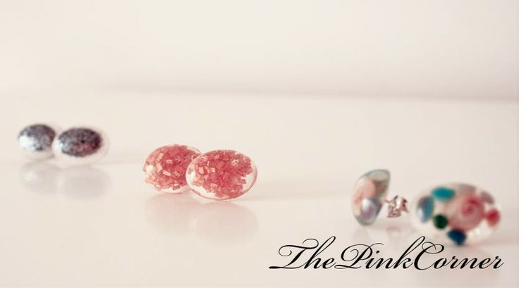 Crystal clear resin stud earrings  silver glitter, sugar and sea shells and pebbles inserts