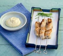 Barbecued Patagonian Toothfish Skewers with Wasabi Mayo - Thick natural yoghurt can be substituted for mayonnaise in this recipe.  If fish is marinated for too long the lemon juice in the marinade will start to 'cook' the fish. Yuzu is a Japanese citrus fruit, the juice is available from Asian grocers, if unavailable, substitute 1½ tablespoons of orange juice and ½ tablespoon of lime juice.