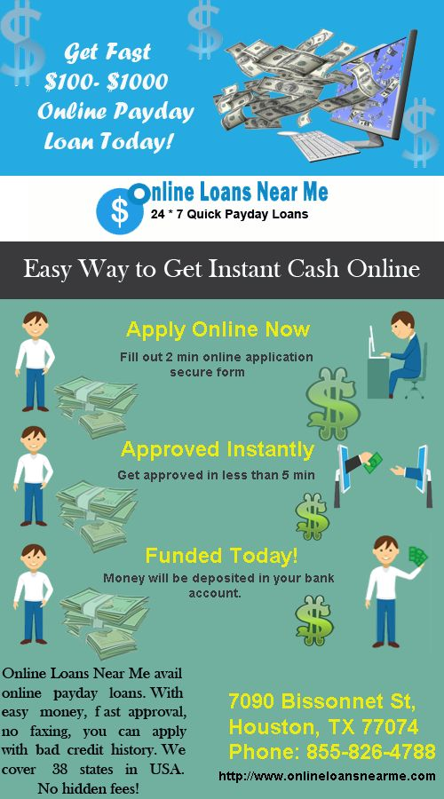 Online Loans Near Me avail online payday loans, Easy money, fast approval, no faxing, you can apply with bad credit history. We are here to help you out with debt problems. We cover 38 states in the USA. No Hidden Fees! Apply Today at http://www.onlineloansnearme.com