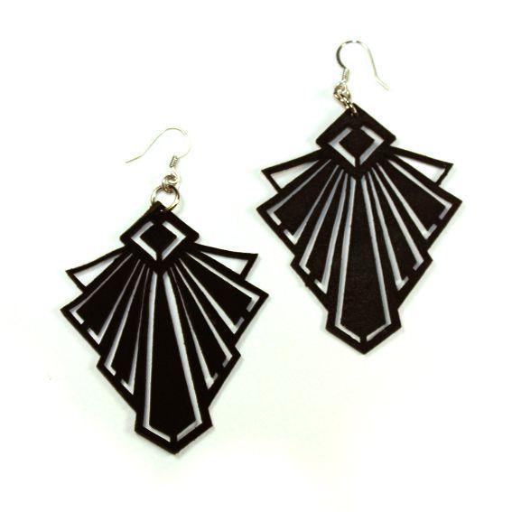 Art deco leather black earrings