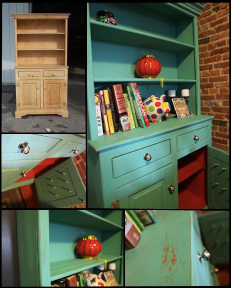 Paint a nice piece of storage furniture teal with patterned backing in tangerineand green or yellow...