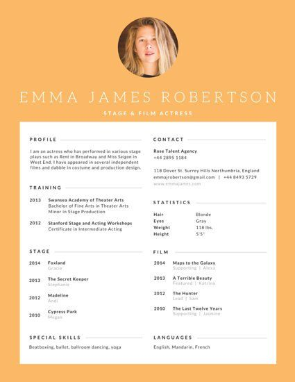 8 best resume templates images on Pinterest Sample resume - acting resumes
