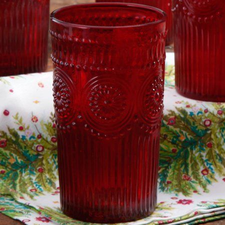 The Pioneer Woman 16-Ounce Glass Tumbler, Red - Walmart.com