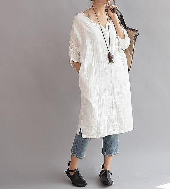 Women Cotton long Leisure large size dress by MaLieb on Etsy